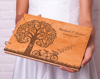 Rustic Wedding guest book Wood guestbook Tandem Bike guest book Custom Engraved Wedding guestbook Ideas Rustic guest book Custom guestbook
