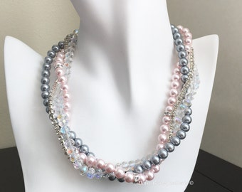 Grey and Pink Necklace Bridesmaid Jewelry Statement Necklace Grey and Blush Wedding Maid of Honor Gift Bridesmaid Necklace