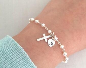 Baby Christening Bracelet, Freshwater Pearl Bracelet, Baptism Bracelet, Gift for Goddaughter, Godmother Bracelet, First Communion Bracelet