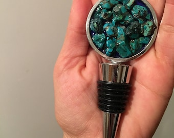 Wine Stopper with Genuine Turquoise Southwestern Style *bareware * wine lovers