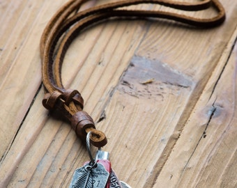 Boho Necklace // Leather Necklace // Feather Necklace //  Man Leather Necklace // Guys Necklace // Necklace For Man