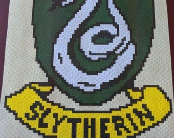 Harry Potter's Slytherin – Teen/Adult Size C2C Crochet Blanket Afghan Graph Pattern – 75x90 C2C crochet squares
