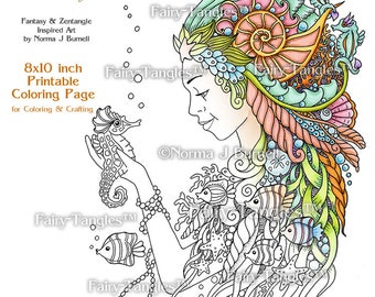Mermaid and Seahorse Printable Coloring pages - Fairy Tangles Printable Coloring book Sheets Norma J Burnell Mermaids Digital Coloring pages
