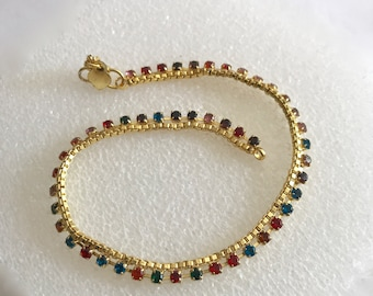 Jewelry ankle bracelet micro gold plated leg ornament multi rhinestone vintage body jewelry