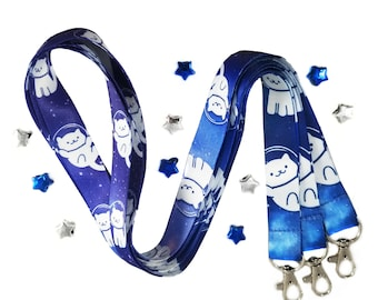 Space cats polyester full color lanyard