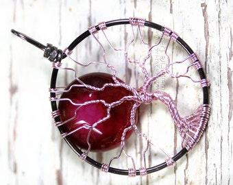 Tree of Life Pendant Pink Full Moon Fire Crack Cracked Crackle Agate Gunmetal Wire Wrapped Valentine's Day Love Gift for Her Fairy Tree RTS