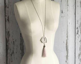 White Druzy Tassel Necklace, Tassel Necklace, Layering Tassel Necklace, Druzy Tassel Necklace, Boho Necklace, Light Pink Tassel Necklace