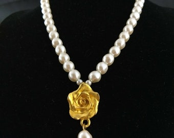 "Marie DeMasi Gold Tone Rose & White Pearl Necklace 16"" - Retired Design"