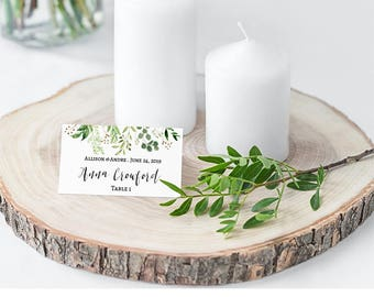 Greenery Wedding Placement Cards, Template, Greenery Place Cards Wedding, Greenery Blank Place Card, Greenery Names Card, Tent, Download, L4