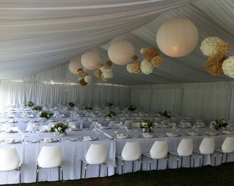 50 Tissue Paper Pom Poms -Your Color Choice- Rustic Barn Wedding - Tent Wedding Decoration