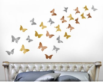 Gold Bedroom Decor Wall Decals - Realistic Silhouette Butterfly Decals in Metallic Gold, Silver, Copper, Butterfly Wall Decor (0179c30v)