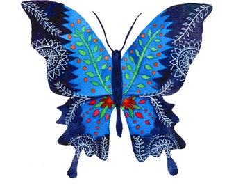 Butterfly No. 1: Watercolor and Ink Archival Print- Butterfly Illustration- Giclee Print