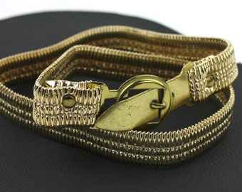 Vintage Narrow Gold Stretch Vinyl Belt