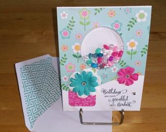 Birthday, Girl, Card, 3-D, Shaker, Turquoise, Pink, BDay, Handmade, Beads, Feminine, Rhinestones, Pearls, Stand up