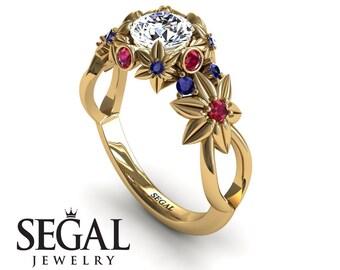 Flower Gold Ring Diamond Engagement Ring Flower Ring Nature Engagement Ring Art Deco Ring Diamond Engagement Ring - Katherine