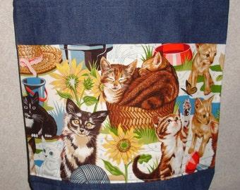 New Large Handmade Flowers Kitties Kittens Cats Daisy Denim Tote Bag