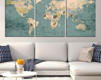 Large World Map, World Map Wall Art, World Map Push Pin, World Map
