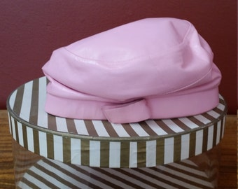 Pink Leather Slouchy Cap