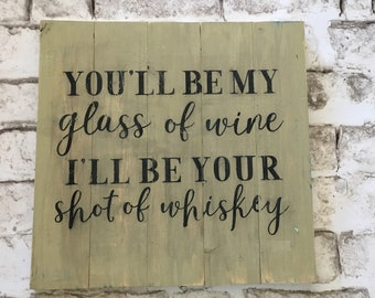 Glass of Wine | Handpainted Wood Sign