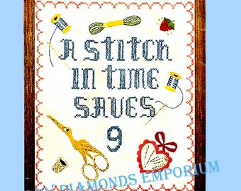 A Stitch in Time, Vintage Bucilla Cross Stitch Sampler Kit #1980 Creative Needlecraft, Sewing Room Décor Sealed in Original Packaging