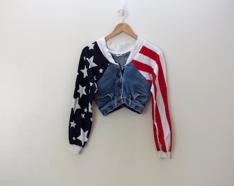 AMERICA 1990s Novelty Denim American Flag Patriotic Crop Top Jacket Size Small