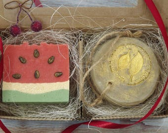 Vegan soap set Spa gift set Organic soap favors All natural soap Handmade Summer Soap for face Natural shampoo Soap two in box Mothers day