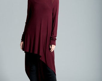 Long Tunic / Loose Fitting Top / Asymmetrical Blouse / Long Sleeve Tunic / Casual Tunic / Oversize Blouse / Marcellamoda - MB0103