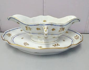 Herend Coronation Porcelain Gravy Boat with plate Gold Leaves