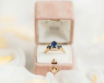 Ring Box Genuine Suede Monogrammed Velvet Vintage Style - 11 COLORS SUEDE - Handmade Vintage Antique Engagement Wedding Proposals Temple