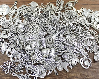 100pcs LIQUIDATION Assorted Antique Silver Charms Much Cheaper Price