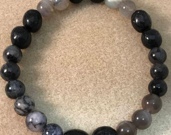 MERLIN MAGIC 8mm Bracelet: Black Tourmaline, Labradorite, Nuummite, Black Moonstone, Merlinte, Arfvedsonite, Larvikite Bracelet