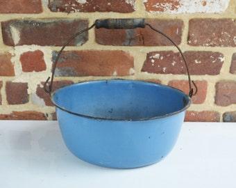 Rustic Vintage Blue Enamelware Campfire/Wood Stove/Country Kitchen Pale/Pot