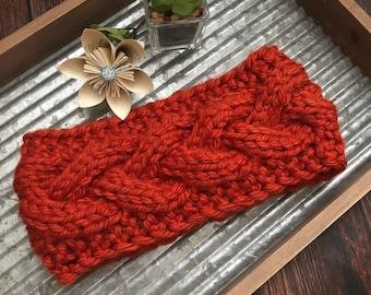 Knit cable headband- headband-ear warmer-braided headband- cabled ear warmer- winter headband-fall headband