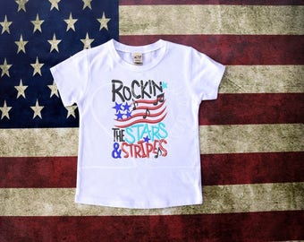 Rockin the Stars and Stripes 4th of July Embroidered Applique - White Shirt 100% Cotton - MADE TO ORDER
