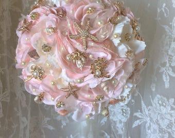 Bridesmaid Beach Bouquet, Blush Pink Rose Gold Brooch Bouquet, Star Fish & Seashells, Rush Order's Welcome!