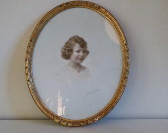 Child's pastel portrait France 1931