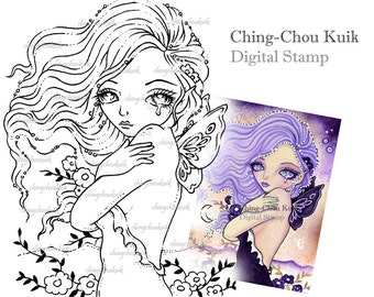 Tears in wind - Digital Stamp Instant Download / Butterfly Moon Fairy by Ching-Chou Kuik