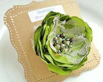 Large Green Silk Fabric Flower Brooch, Green Dress Sash Belt Flower Pin with Crystal Pearl, Grey Lace, Broach, Beaded, brooches, broaches