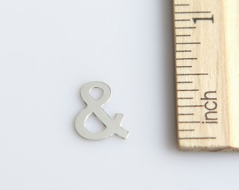 SALE, Sterling Silver Ampersand Charm, & charm, Alphabet Charm, And Charm, Script Letter Charm, Sterling Silver Charm, 11mm ( 1 piece )