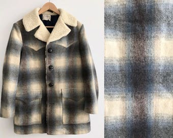 Vintage 1960s Pendleton Rancher Coat // 60s Shadow Plaid Wool Shearling Jacket // Mens Large // High Grade Western Wear // Loop Collar