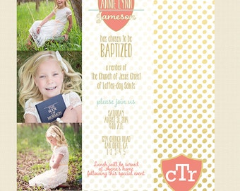 LDS Baptism Invitation - Gold Girl Baptism - Custom LDS Baptism Photo Announcement/Invitation