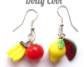 Fruit Earrings 3D Drop by Dolly Cool Melon, Lemon, Apple & Banana Tutti Frutti Carmen Miranda