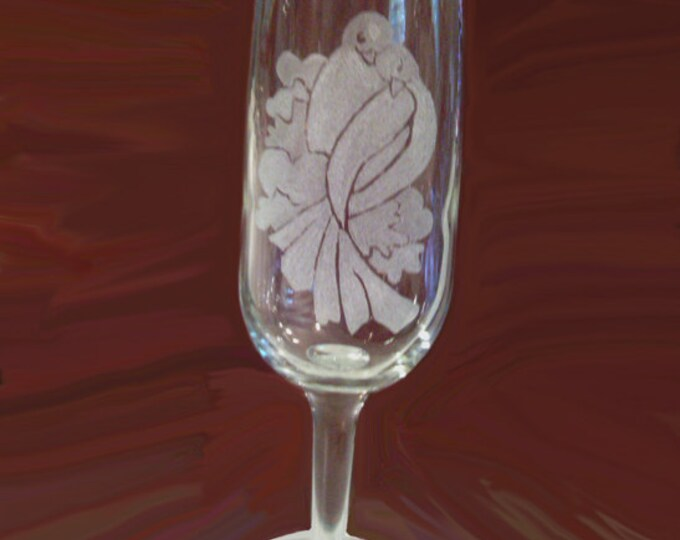 Hand etched wedding glasses