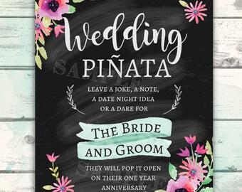 Wedding Pinata, Piñata Sign, Wedding Piñata for the Bride and Groom, Chalkboard Wedding Sign, Reception Sign, Guest Book, Wedding Decor