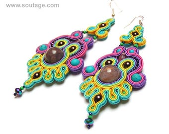 Krishna 1 Soutache earrings Long earrings Agate earrings Boho earrings Colorful earrings Turquoise earrings Big earrings Statement earrings