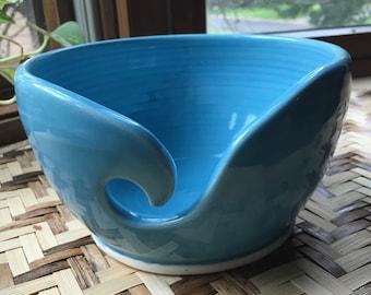 Handmade Porcelain Yarn Bowl in Turquoise Blue