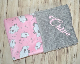 Monogrammed Minky Baby Blanket - Pink Lambs, Sheep, Light Gray Personalized, Girl, Blanket with Name, birth stats Newborn baby girl minky