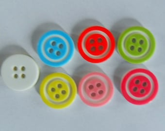 Set of 7 colorful resin buttons with white circle - 12mm - 2 holes