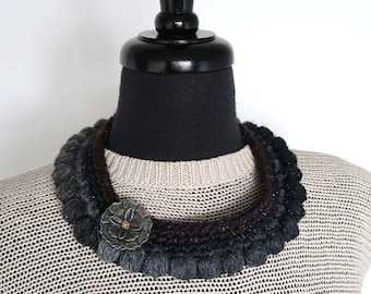 Black Brown Gray Color Statement Fiber Crochet Collar Necklace with Metal Flower Pendant
