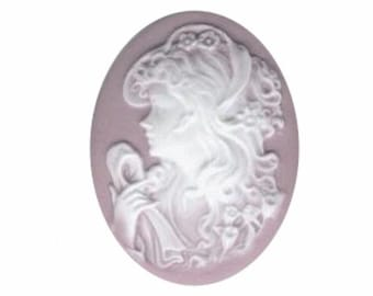 woman with scarf  cameo Lilac light purple resin cameo 40x30mm item 364q